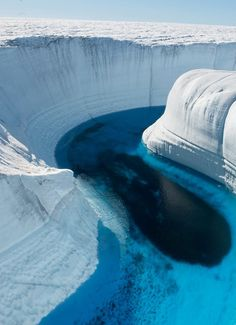A canyon 150 feet deep, created by meltwater erosion of the ice sheet in Greenland