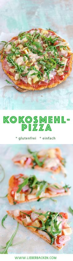 Kokosmehl-Pizza // glutenfrei Low Carb lecker essen # Food and Drink lunch low carb Pizzaboden aus Kokosmehl Pizza Sans Gluten, Paleo Pizza, Gluten Free Pizza, Low Carb Pizza, Low Carb Lunch, Low Carb Keto, Low Carb Recipes, Healthy Recipes, Pizza Recipes