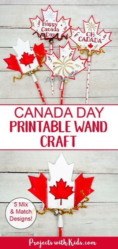 Kids will have fun making this easy Canada Day printable wand craft that can also be used as a noisemaker! A fun paper craft kids will love with 5 mix and match designs to choose from. Craft Projects For Kids, Paper Crafts For Kids, Crafts For Kids To Make, Arts And Crafts Projects, Preschool Crafts, Art For Kids, Craft Kids, Daycare Crafts, Summer Crafts
