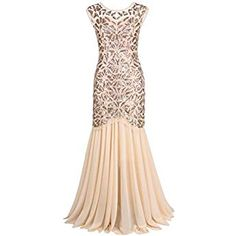 Buy Kayamiya Women s Beaded Floral Maxi Long Gatsby Flapper Prom Dress XL  Champagne at Discounted Prices ✓ FREE DELIVERY possible on eligible  purchases. 3f26a87dc