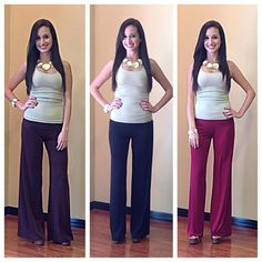 Solid Color Palazzo Pants in Fall Colors! #plum #navy #burgundy ~ We Ship; (954) 773-8515 ~ Apricot Lane South Florida