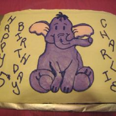 Heffalump cake - His poor leg! All in all, not bad for free-hand drawing with buttercream.
