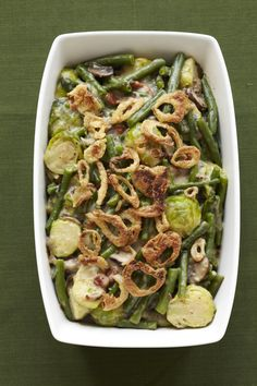 Green Beans & Brussels Sprouts #thanksgiving #sides #holidays