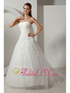 Modest A-line Strapless Appliques Plus Size Wedding Dress Court Train Tulle- http://www.fashionos.com  http://www.facebook.com/fashionos.us  You`re sure to be on cloud nine when you check yourself out in this fanciful creation! The strapless bodice is highlighted by bulky handcrafted lace embellishments contouring your slim figure and charming curve. Its midriff is eye-catching for the ribbons of lacy appliques.