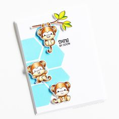 Stamps: Cheeky Monkey / Stencils: Six A Side Clear Stamps, Monkey, Stencils, Mini, Cards, Gifts, Fictional Characters, Monkeys, Presents