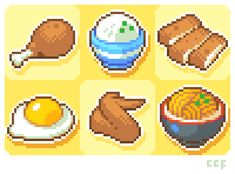Just a bunch of food pixels I did for my twitter header