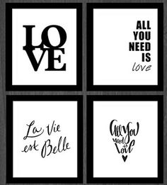 cuadros de diseño decoración con frases marco madera envios! All Need Is Love, Home Decor Bedroom, Word Art, Stencils, Sweet Home, Printables, Words, Prints, Inspiration