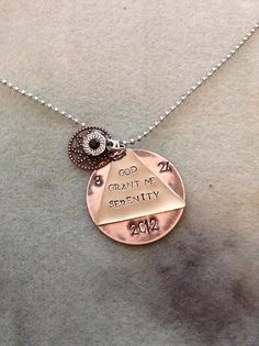 AA Alcoholics Anonymous Anniversary Sobriety Necklace by KLBaby, $15.00