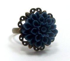 ce107990895 Ring Brass Flower Cocktail Navy Blue Mum . LOVELY