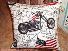 Woven motorcycle pillow case  American flag 18x18 by SABDECO