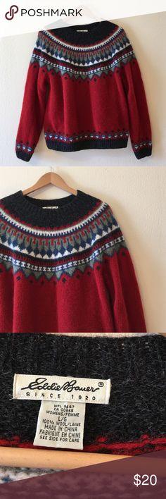 Eddie Bauer cute wool knit winter sweater Good condition  Eddie Bauer Sweaters Crew & Scoop Necks