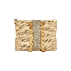 Corsica Clutch (201,530 KRW) ❤ liked on Polyvore featuring bags, handbags, clutches, evening clutches, evening purses, beige clutches, tote purses and tassel clutches