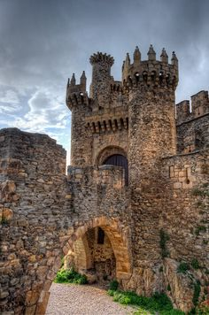 Facade of the Templar Castle - This castle is located in Ponferrada. Ponferrada is a small city in the Spain.