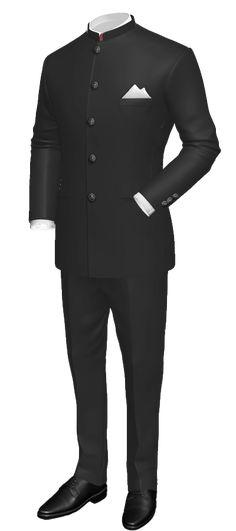 Black Mao 100% Wool Suit http://www.tailor4less.com/en/men/suits/2302-black-mao-100-wool-suit