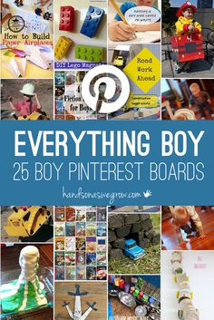 Find everything for boys on these Pinterest boards -- all the different areas that boys like for activities, plus birthday party ideas, clothing and even books for boys.