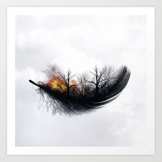 Fire Feather * Black Feather (horizontal) Framed Art Print by Luisa Azevedo - Vector Black - MEDIUM Nature Tattoos, Body Art Tattoos, Tatoos, Forest Tattoos, Art Sketches, Art Drawings, Fire Tattoo, Feather Art, Black Feathers