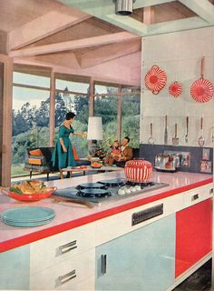 A great candy cane hued 1950s kitchen. #vintage #1950s #home #decor #red