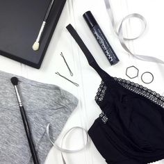 Monochrome beauty & fashion flat lay