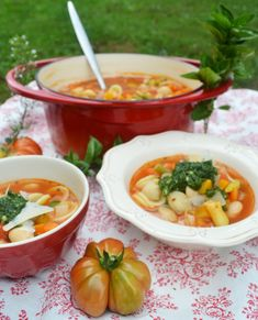 A bowl full of vegetables, all topped with a dollop of pistou! - A bowl full of vegetables, all topped with a dollop of pistou! For me a real pleasure in late summe - Wonton Recipes, Fruit Recipes, Meat Recipes, Vegetable Noodle Soup, Vegetable Soup Healthy, Italian Soup, Italian Dishes, Organic Recipes, Ethnic Recipes