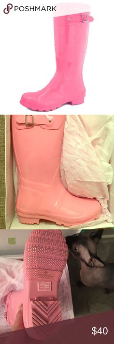 ed3d53f3ca41 NWT Pink 💕 Rainboots ☔ Daily shoes mid calf knee high round toe hunter  rainboots