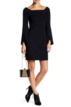 Sexy Square neck dress with long bell sleeves. Back zip closure. Wide Sleeved Dress by Yoana Baraschi. Clothing - Dresses - Sheath New Jersey First Day Of Summer, Date Night Dresses, Nordstrom Dresses, Fashion Boutique, Sleeved Dress, True Love, Dress Outfits, Dresser, Bell Sleeves