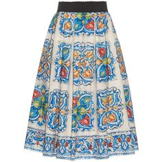 Dolce & Gabbana Majolica-print cotton-poplin skirt (€555) ❤ liked on Polyvore featuring skirts, white multi, print midi skirt, midi skirt, white knee length skirt, print skirt and mid calf skirts