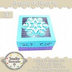 Snowflake Swirls Box, Caixa Arabescos Floco de Neve, Frozen, Elsa, Tampa, Cover, Winter, Inverno, Neve, Snow, Frio, Cold, Gift, Presente, Arabescos, 3D, Modelo 3D, Projeto 3D, Box, Caixa, Caixinha, Boxes, Silhouette, Arquivo de Recorte, DXF, SVG, PNG