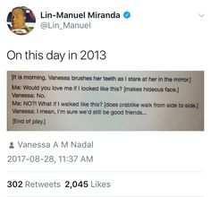 """Literally my favorite game to play with my friends and family. """"Would you still love me if (blank)? Theatre Nerds, Musical Theatre, Theater, Hamilton Broadway, Hamilton Musical, Dear Evan Hansen, Lin Manual Miranda, Hamilton Lin Manuel Miranda, Fandoms"""
