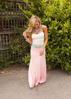 Online boutique. Best outfits. High Waisted Striped Maxi Skirt Pink - Modern Vintage Boutique