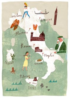♥♥ღPatrícia Sallum-Brasil-BH♥♥ღ Italy, Masako Kubo illustration Italy Map, Italy Travel, Italy Italy, Naples Italy, Travel Maps, Places To Travel, Travel Photos, Illustrations, Illustration Art