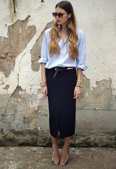Maja Wyh mostra como usar de forma estilosa camisa com saia lápis
