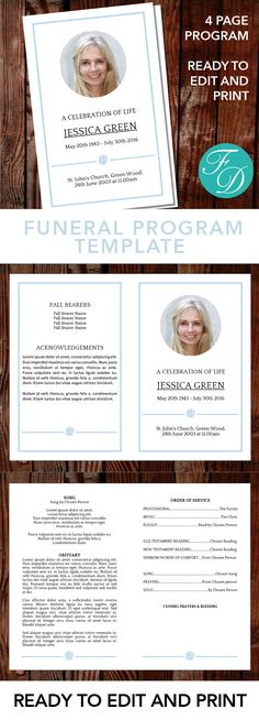 Gold Printable Funeral program ready to edit \ print Simply - funeral template download