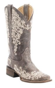 Corral® Ladies Distressed Brown w/ Bone Embroidery Square Toe Western Boots | Cavender's