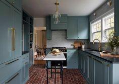 15 Small Kitchen Island Ideas New Kitchen Cabinets, Kitchen Cabinet Colors, Painting Kitchen Cabinets, Kitchen Flooring, Brick Flooring, Shaker Cabinets, Kitchen Backsplash, Kitchen Soffit, Backsplash Design