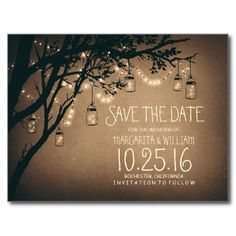 Romantic vintage save the date with rustic old tree branches, glowing string lights and and mason jars full of fireflies.
