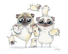 Pug Art Print 5x7 8x10 8.5x11 Pug Family Pugs and Pug par InkPug
