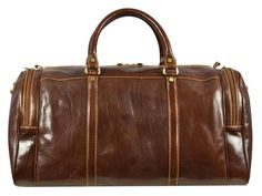 BROWN LEATHER DUFFEL BAG - DARKNESS AT NOON
