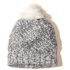 Hollister Patterned Pom Beanie ($12) ❤ liked on Polyvore featuring accessories, hats, marled grey, grey knit beanie, knit beanie hats, grey hat, grey knit hat and gray beanie