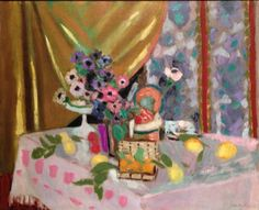 Henri Matisse, Still Life with Yellow Curtain, Anemones and Fruit, 1925, oil on canvas, 31 ½ x 39 ⅜ inches (Private Collection).