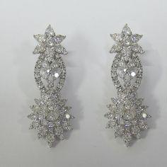 10.54 CT F SI1 18K White Gold Diamond Fashion Drop Earrings -IDJ015223