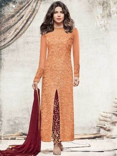Peach Straight Heroine Priyanka Chopra Dress Sale Price-Rs. 3,550.00 Shop Now - https://www.liinara.com/collections/celebrity-collection/products/peach-straight-heroine-priyanka-chopra-dress