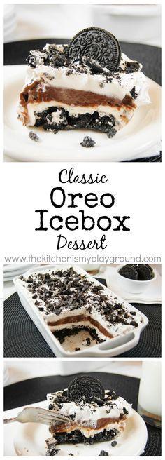 Classic Oreo Icebox Dessert ~ creamy chocolate comfort in a pan!  www.thekitchenismyplayground.com: