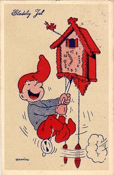 Frederik Bramming Vintage Christmas, Christmas Crafts, Kobold, Merry Happy, Elves, Thank You Cards, Scandinavian, Rooster, Santa