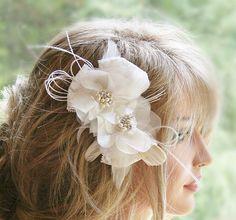 Ivory Wedding Headpiece, Bridal Hair Flower, Hair Accessories, Floral Lace Pearl Rhinestone Wedding Hair Clip, Bridal Hair Piece