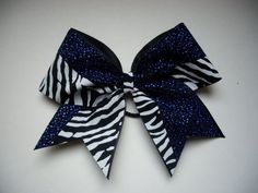 cheer bow blue and zebra by LeBow1cheerbows on Etsy, $10.99