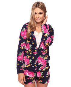 Floral Fleece Hoodie - StyleSays