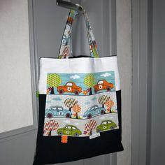 Tote bag - sac enfant - voitures numérotées - gris/bleu/vert/orange