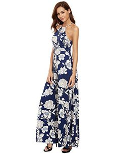 Floerns Womens Sleeveless Halter Neck Vintage Floral Print Maxi Dress Blue XLarge >>> You can get more details by clicking on the image.