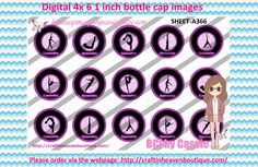 1' Bottle caps (4x6) Digital Gymnastics girls A366 - Click Image to Close