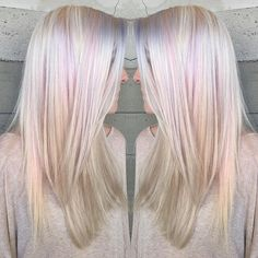 Platinum with subtle licks of pastel pink and lavender... By Butterfly Loft stylist Caroline.